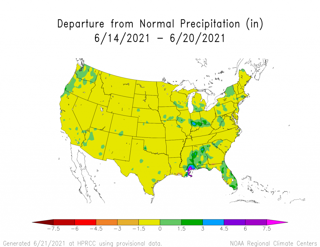 Rainfall in the last seven days is in large areas of the US below normal amounts of rain.