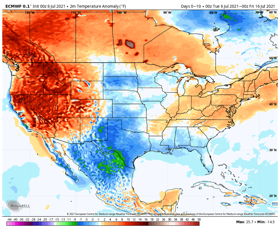 10 day temperature difference forecast