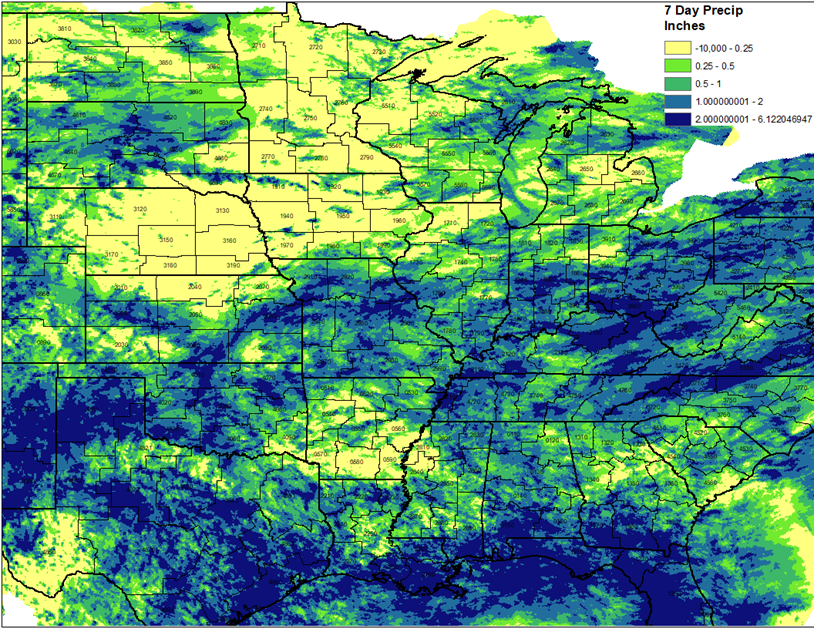 7-day precipitation in the Midwest