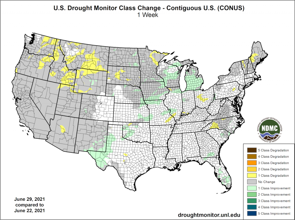Drought change over the last week in the contiguous USA