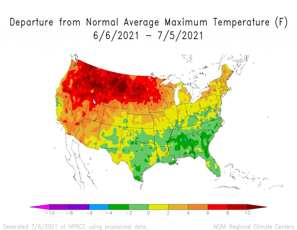 departure from normal average maximum temperature