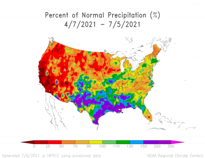 percentage of normal precipitation in the last ninety days