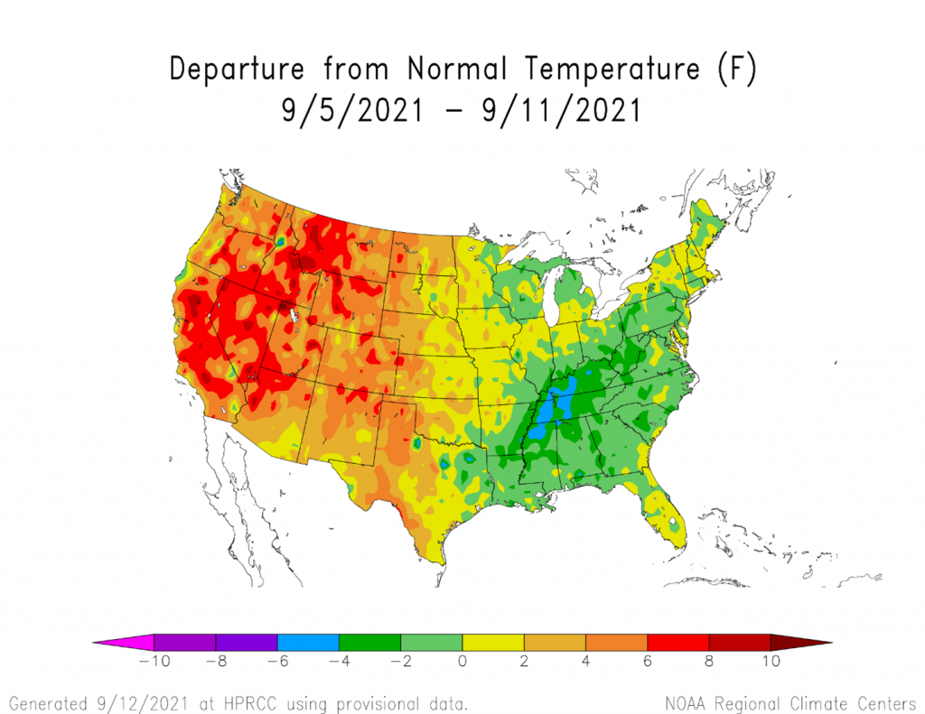 The temperature in the last week has been warmer then normal over the Midwest and Western states